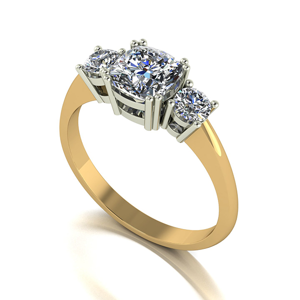 Moissanite 9ct Gold 1.4ct eq Royal Trilogy Ring Yellow Gold
