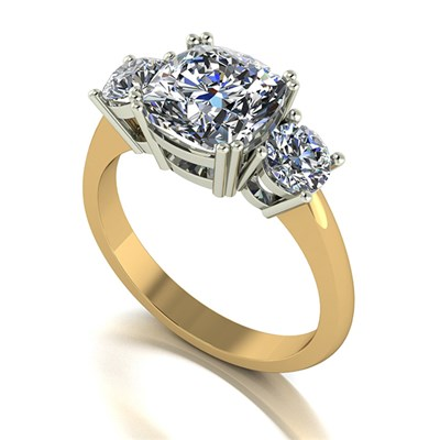 Moissanite 9ct Gold 3ct eq Royal Trilogy Ring