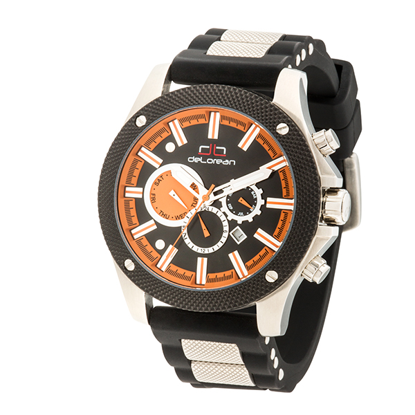 20% off deLorean Gent's Limited Edition Automatic Adrenaline Watch with Metal Insert Silicone Strap
