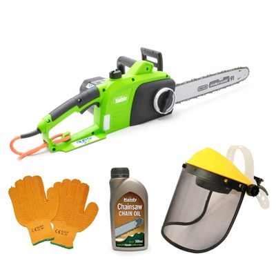 The Handy Electric Chainsaw with Gloves, Visor & Chain Oil 500ml