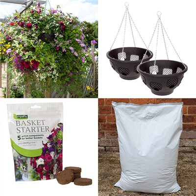 Pair of 36cm (14in) Easy Fill Hanging Baskets, 40L Compost & 12 Basket Biscuits