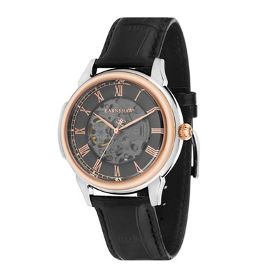 Thomas Earnshaw Gent's Observatory Watch with IP Plated Case and Genuine Leather Strap