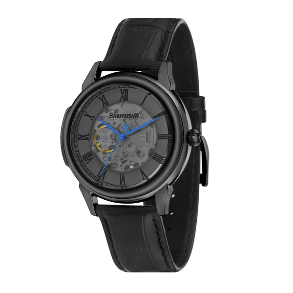 Thomas Earnshaw Gent's Observatory Automatic Watch with IP Plated Case and Genuine Leather Strap Black