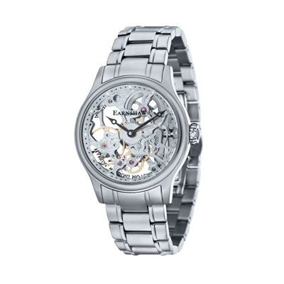 Thomas Earnshaw Gent's Bauer Mechanical Skeleton Watch with Stainless Steel Bracelet