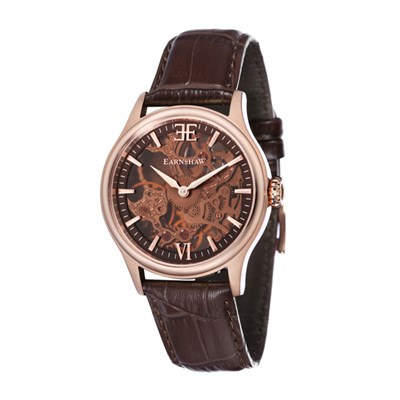 Thomas Earnshaw Gent's Bauer Shadow Skeleton Watch with IP Plated Case and Genuine Leather Strap