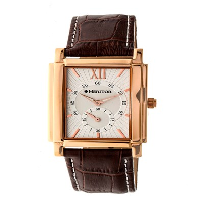 Heritor Gent's Automatic Frederick Watch with IP Plated Case and Genuine Leather Strap