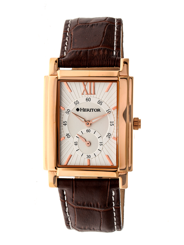Heritor Gent's Automatic Frederick Watch with IP Plated Case and Genuine Leather Strap Rose Gold