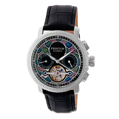 Heritor Gent's Automatic Aura Watch with IP Plated Case and Genuine Leather Strap