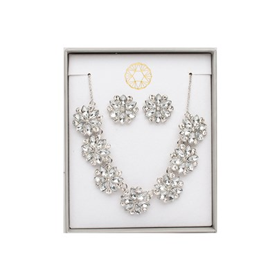 Floral Crystal Effect Necklace and Earring Set
