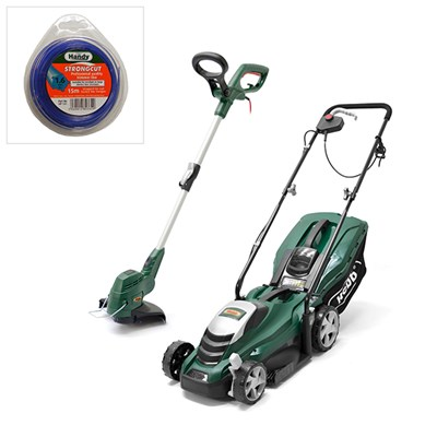 Webb WEER33 33cm Electric Rotary Lawnmower & WEELT450 Electric 25cm Line Trimmer & Nylon Cord