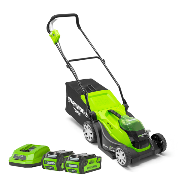 Greenworks G-Max 40V 35cm Cordless Lawnmower plus 2 x 2Ah Lithium-ion Batteries & Charger No Colour