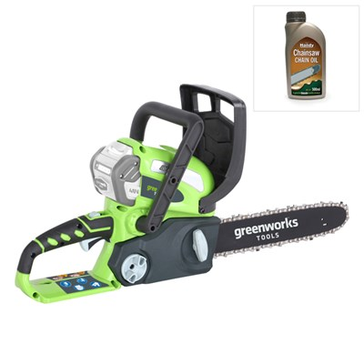 Greenworks 40V 30cm (12in) Cordless Chainsaw (Tool Only) & 500ml Chain Oil