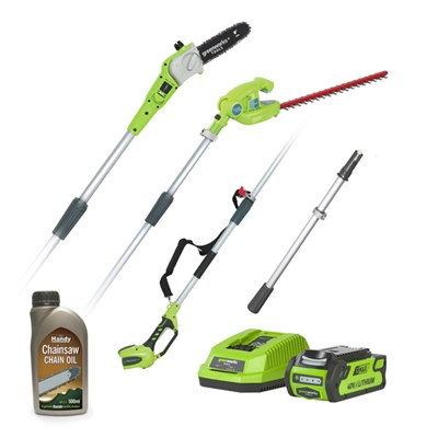 Greenworks 40V Cordless Long Reach Hedge Trimmer & Pruner, 2Ah Lithium-ion Battery, Charger & 500ml Chain Oil