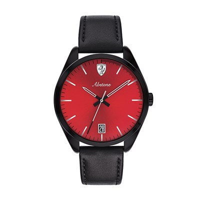 Scuderia Ferrari Gents Abetone Watch with IP Plated Case and Genuine Leather Strap