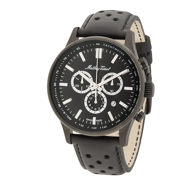 Mathey-Tissot Gent's Limited Edition (to75pcs per colour) Chronograph Watch with Genuine Leather Strap Black