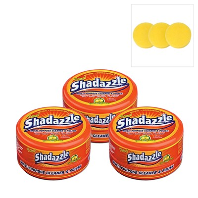 Three Tubs of Shadazzle Natural Cleaner and Polish with Three Extra Applicators