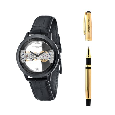 Thomas Earnshaw Gent's Cornwall Bridge Watch with Genuine Leather Strap and Pen