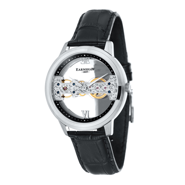 Thomas Earnshaw Gent's Cornwall Bridge Watch with Genuine Leather Strap Black/Silver