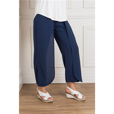 Kasara Crepe Layered Wide Leg Trouser