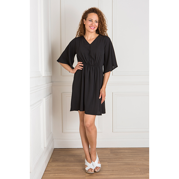 Kasara Gathered Tunic Dress with Split Sleeves Black