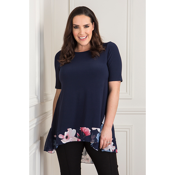 Nicole Tunic with Chiffon Floral Print Godet Insert Navy