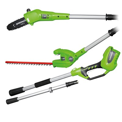 Greenworks G24PHT 24V Long Reach Hedge Trimmer + Polesaw (Bare Tool)