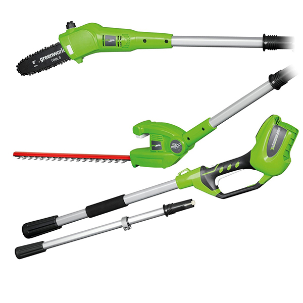 Greenworks G24PHT 24V Long Reach Hedge Trimmer + Polesaw (Bare Tool) No Colour