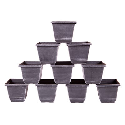 Square Metallic Planters 18cm (10 Pack)
