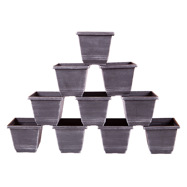 Square Metallic Planters 18cm (10 Pack) No Colour