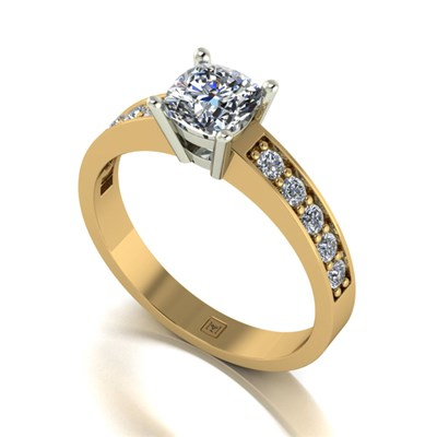 Moissanite 9ct Gold 1.10ct eq Lady Lynsey Solitaire and Shoulder Detail Ring
