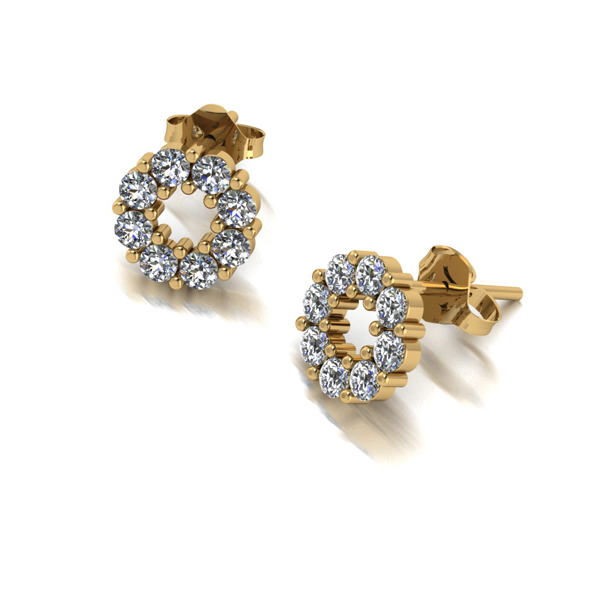 Moissanite 9ct Gold 0.80ct eq Lady Lynsey Cluster Earrings Yellow Gold