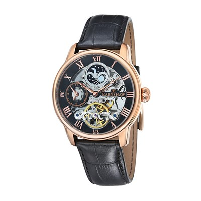 Thomas Earnshaw Gents Longitude Automatic Watch with Dual Time and Genuine Leather Strap