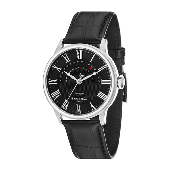 Thomas Earnshaw Gent's Cornwall Retrograde Watch with Genuine Leather Strap Black