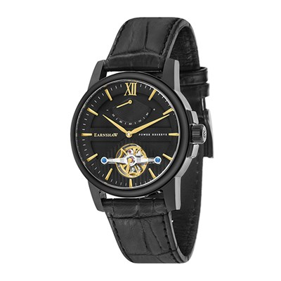 Thomas Earnshaw Gents Flinders Automatic Watch with IP Plated Case and Genuine Leather Strap