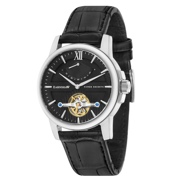 Thomas Earnshaw Gent's Flinders Automatic Watch with IP Plated Case, Genuine Leather Strap and Gift Black/Silver