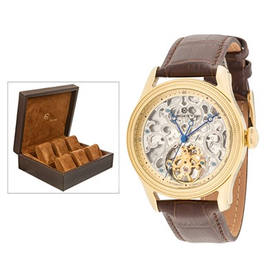 Constantin Weisz Gent's Automatic Watch with Skeleton Dial, Genuine Leather Strap and 6 Slot Box