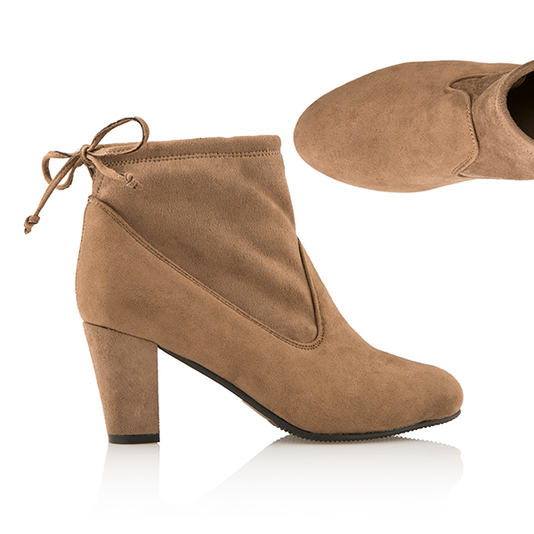 Cushion Walk Suedette Heeled Tie Ankle Boot Taupe