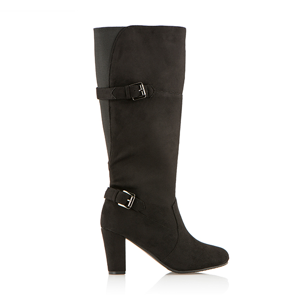 Cushion Walk Suedette Tall Buckle Boot Black