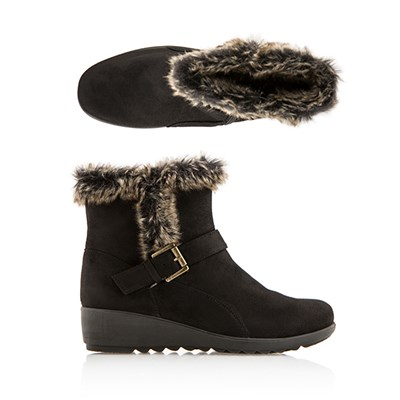 Cushion Walk Suedette Faux Fur Trim Ankle Boot