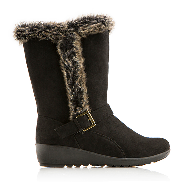 Cushion Walk Suedette Faux Fur Trim Calf Length Boot Black