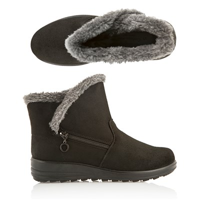 Cushion Walk Fur Trim Zip Ankle Boot