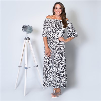 Kasara Printed Bardot Maxi Dress