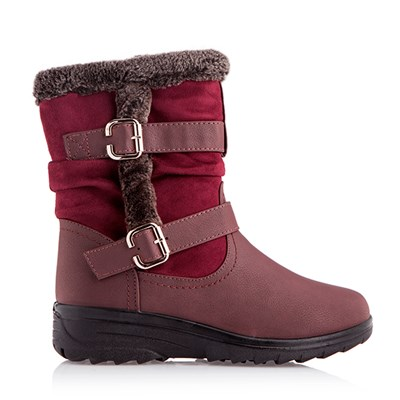 Cushion Walk Fleece Lined Boot with Faux Fur Trim