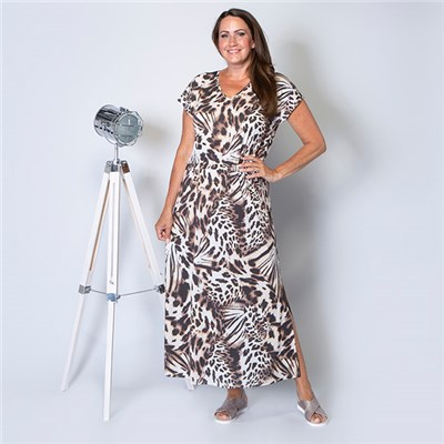 Kasara Tie Waist Short Sleeve Printed Maxi Dress