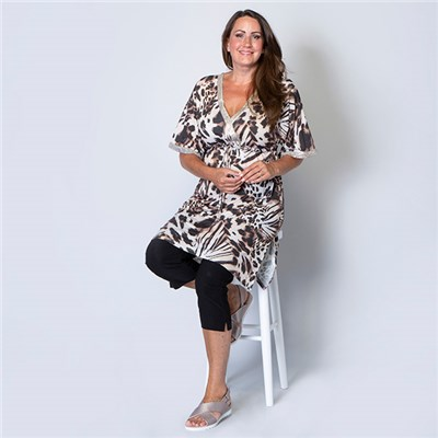 Kasara Animal Print Sequin Kaftan Tunic