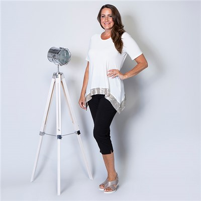 Kasara Half Sleeve Sequin Hem Top