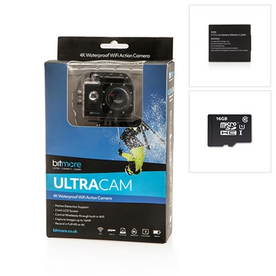 Bitmore 4K Ultra HD Camera, Spare Battery & Integral 16GB microSD
