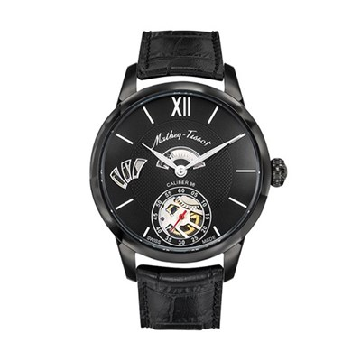 Mathey Tissot Gents Edmond Limited Edition (to 100pcs)1886 Calibre 98 Watch with IP Plated Black Case, Genuine Leather Strap, Luxury Display Box & Pen