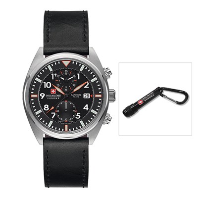 Swiss Military by Hanowa Gents Chronograph Squadron Watch with Genuine Leather Strap - Free Torch