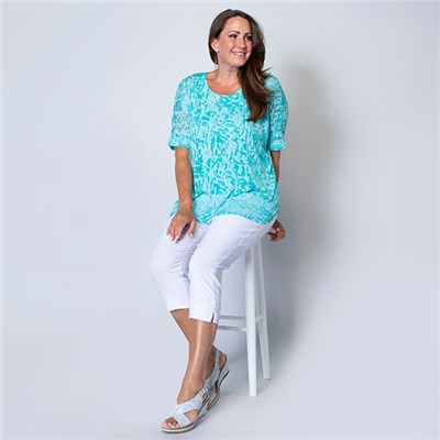Nicole Burn Out Top with Lining